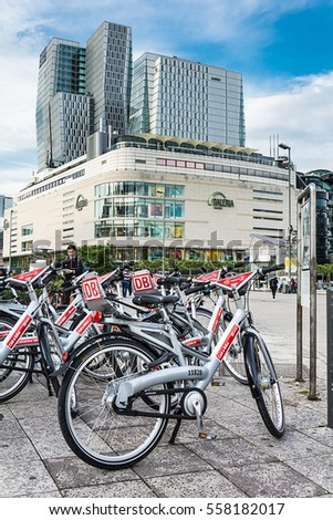 FRANKFURT AM MAIN, GERMANY - MAY 18, 2016: Bicycle parking near the Gallery Kaufhof