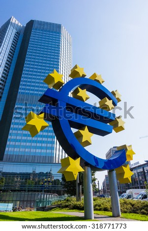 FRANKFURT AM MAIN, GERMANY, SEPTEMBER 11, 2015: Euro currency sign in downtown of Frankfurt near old headquarters of the European Central Bank or ECB