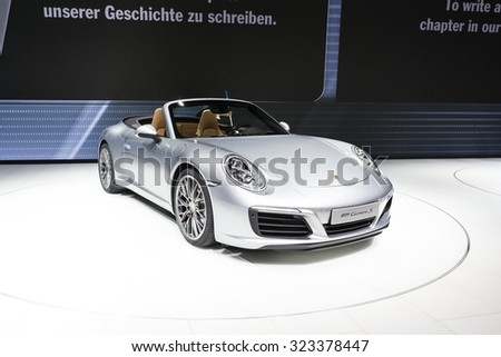 Frankfurt, Deutschland - September 15, 2015: 2016 Porsche 911 Carrera S presented on the 66th International Motor Show in the Messe Frankfurt