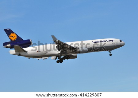 FRANKFURT,GERMANY-APRIL 21:airplane of Lufthansa Cargo above Frankfurt airport on April 21,2016 in Frankfurt,Germany.Lufthansa Cargo AG-German cargo airline and a wholly owned subsidiary of Lufthansa