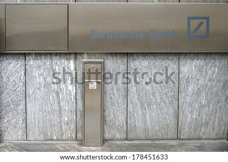 FRANKFURT, GERMANY - FEBRUARY 19: The entrance sign of German Bank with a light barrier on February 19, 2014 in Frankfurt / German bank entrance sign