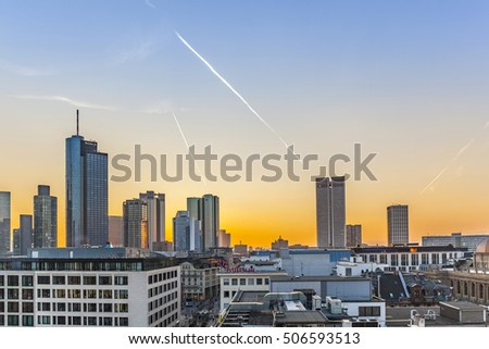 FRANKFURT, GERMANY - MAR 18, 2016: Evening View from sky bar, Frankfurt City Hauptwache