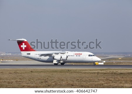 FRANKFURT, GERMANY - MARCH, 18. The Swiss Avro RJ100 with identification HB-IYW takes off at Frankfurt International Airport (Germany, FRA) on March 18, 2016.