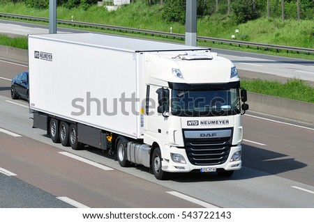 FRANKFURT,GERMANY - MAY 26: truck from Frankfurt on the route on May 26,2016 in Frankfurt, Germany.
