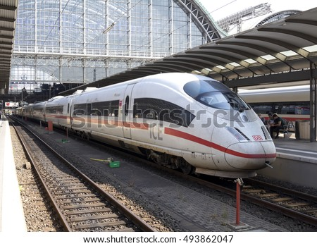 FRANKFURT, GERMANY - SEP 10, 2016: Inside the Frankfurt central station in Frankfurt, Germany. High speed train