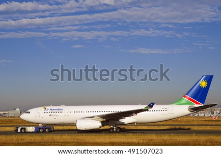 FRANKFURT,GERMANY-SEPT 29:Namibia aircraft on the runway on September 29,2016 in Frankfurt,Germany