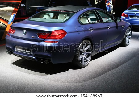 FRANKFURT - SEPT 10: BMW M6 Gran Coupe shown at the 65th IAA (Internationale Automobil Ausstellung) on September 10, 2013 in Frankfurt, Germany.
