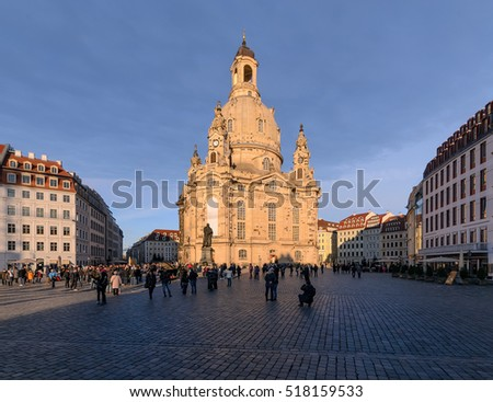 Frauenkirche in the evening. Dresden, Germany. Europe.
