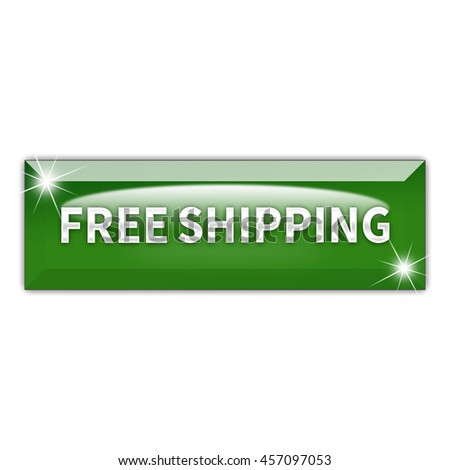 Free Shipping button isolated on white background. 3d render