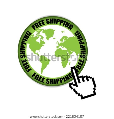 Free Shipping Retail Promotion With World Map Green Label And Sticker.