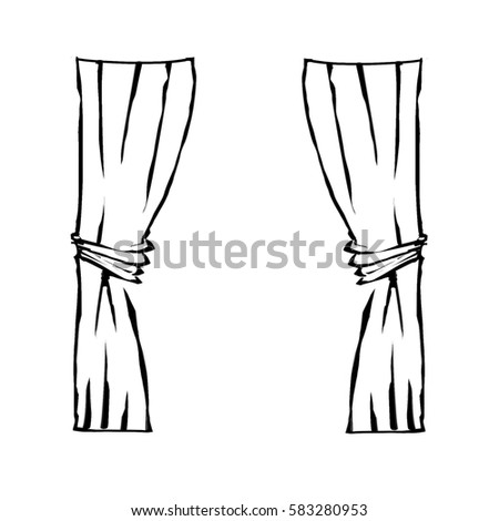 Freehand Simple Drawn Curtains, Digital Illustration Painting Design.