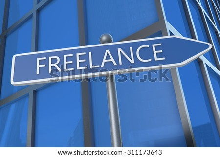 Freelance - illustration with street sign in front of office building.