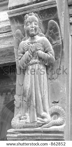 French Angel, Hand carved wood, made approx 1430 ad