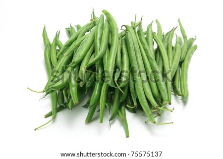French Beans on White Background
