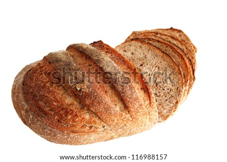 french bread with slices over white background