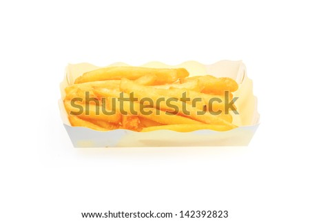 French Fries in the plate isolated on white