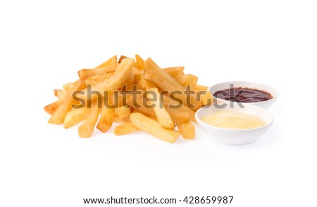 French fries potatoes with ketchup and mayonnaise isolated on white background