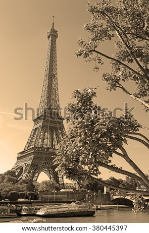 French icon Eiffel Tower, Paris France, sepia toning