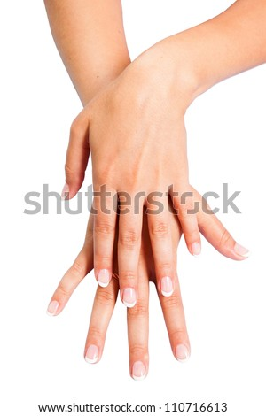 French manicure hands of young woman isolated on white background