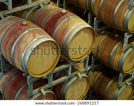French Oak Wine barrels in a traditional winery