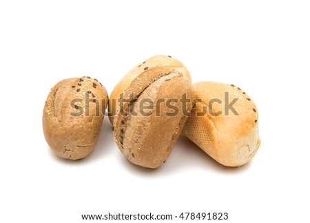 French rolls on a white background