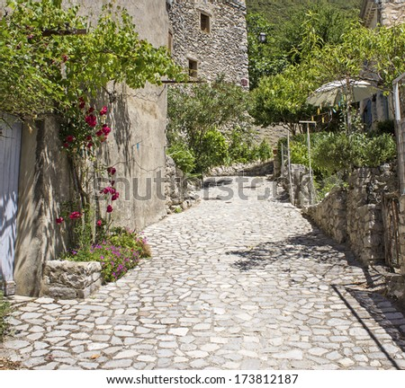 French village, street in Provence. France.