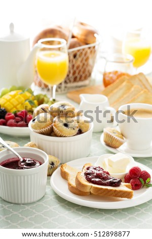 Fresh Bright Continental Breakfast Table Jam Stock Photo 380434708