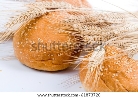 Fresh bread with ears of wheat  on a white background