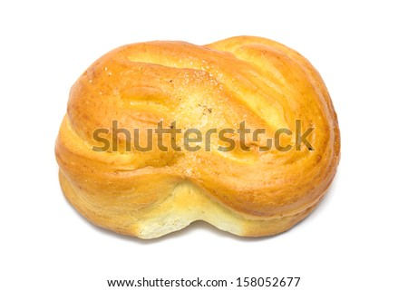 fresh bun with sugar on white background