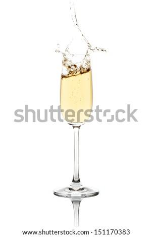 Fresh champagne, splashing out the crystal flute.