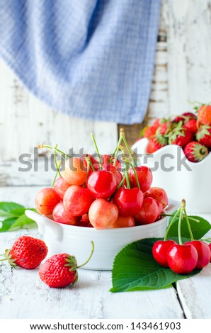 Fresh cherries in a bowl. Selective focus