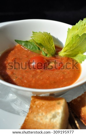Fresh cold gazpacho soup - spanish summer dish