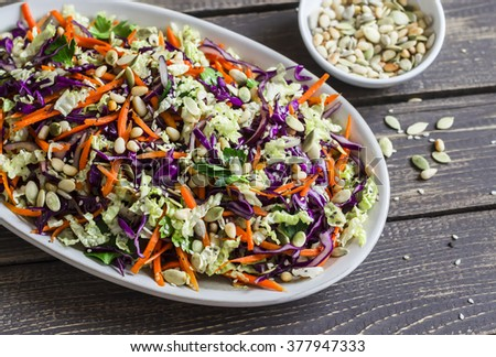 vegetarian salad with vegetables and sauce spicy noodles and vegetable ...