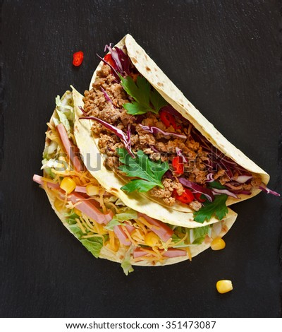 Fresh Delicious Mexican Tacos Food Ingredients Stock Photo ...