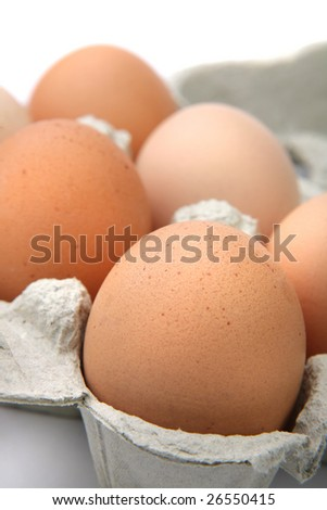 Fresh eggs in protective case