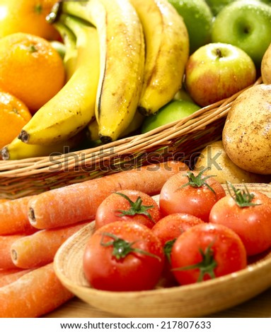 Fresh fruit and vegetables grouped close up