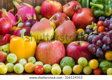 Fresh fruit and vegetables organic for healthy