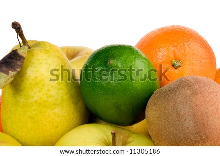 Fresh fruit on a black serving tray on white