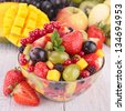 fresh fruits salad in bowl - stock photo