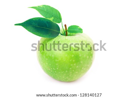 Fresh green apple with leaves isolated on white