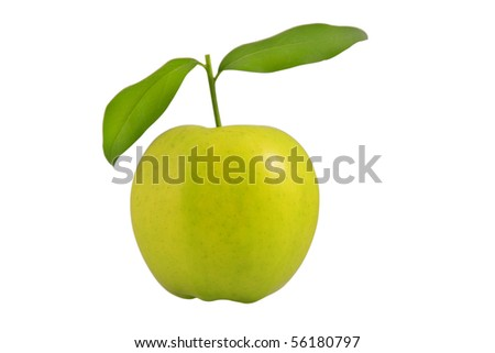 fresh green apple with leaves on white background