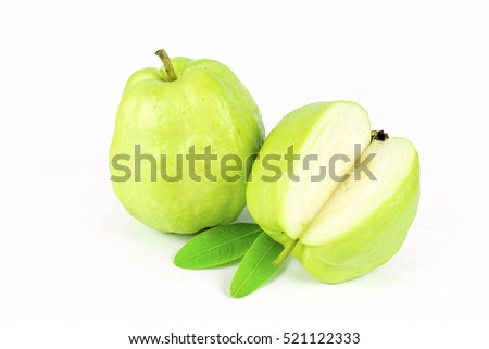 Fresh green Guava fruit on white background