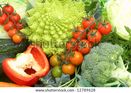fresh green vegetables on green background