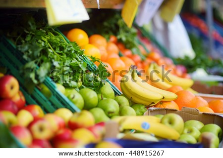 Fresh healthy bio fruits and vegetables on Bremen farmer agricultural market in Germany