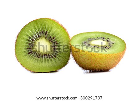 Fresh kiwi fruit on a white background