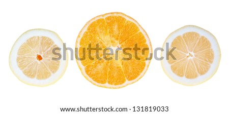 Fresh lemons and oranges in the cut. On a white background.