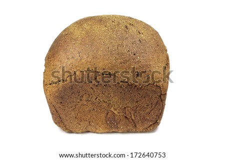 Fresh loaf of rye bread on a white background