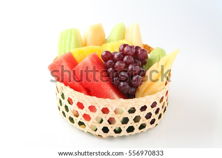 Fresh mixed thai fruits on white background.