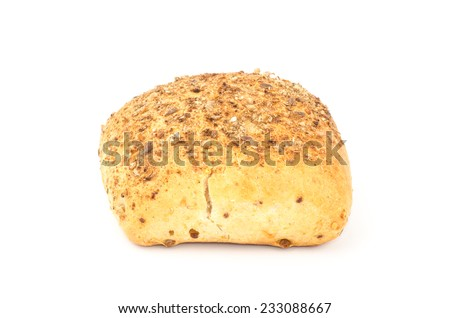 Fresh multimalt roll bread on white background
