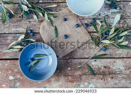 fresh Olives on a wooden table